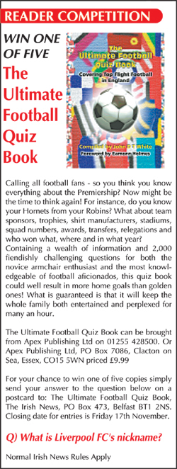 Details of publication apex publishing ltd the ultimate football quiz book the irish news fandeluxe Image collections